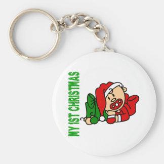 Baby's 1st Christmas BOY Basic Round Button Key Ring