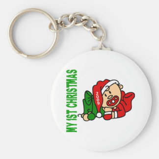 Baby's 1st Christmas Dated BOY Basic Round Button Key Ring