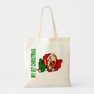 Baby's 1st Christmas Dated BOY Budget Tote Bag