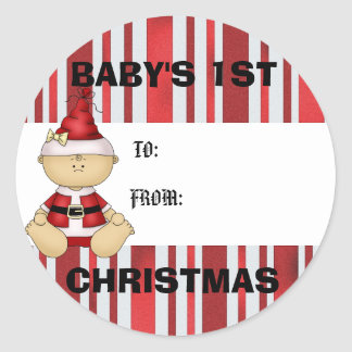 Baby s 1st Christmas gift tag Round Stickers