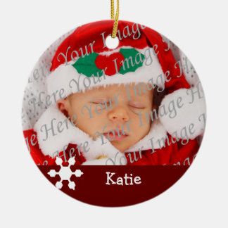 Baby s 2nd Christmas Red Snowflake Ornament