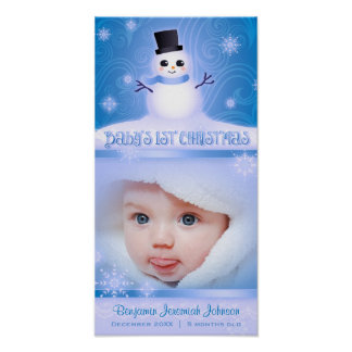 Baby s First Christmas Blue Commemorative Poster