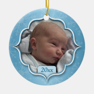Baby s First Christmas Blue Photo Ornament