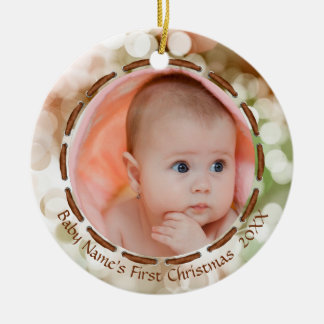 Baby's First Christmas, Brown/Green/White, 2 Photo Christmas Ornament