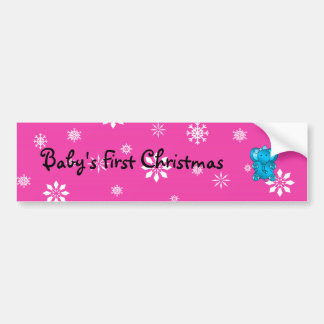 Baby s first christmas elephant pink snowflakes bumper stickers