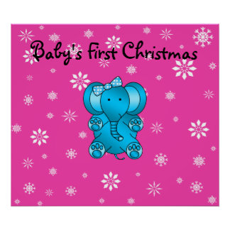 Baby s first christmas elephant pink snowflakes print