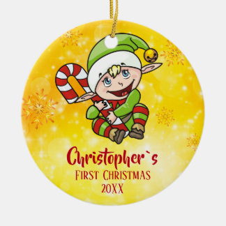 Baby`s First Christmas Elf Candy Cane Yellow Christmas Ornament