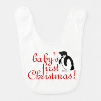 Baby's First Christmas - Penguin Art Bib