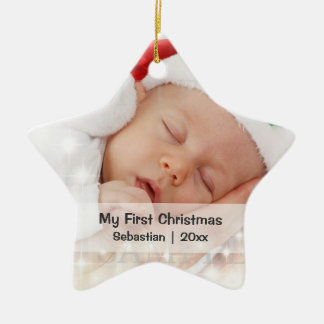 Baby s First Christmas Personalized Photo Template Ornament