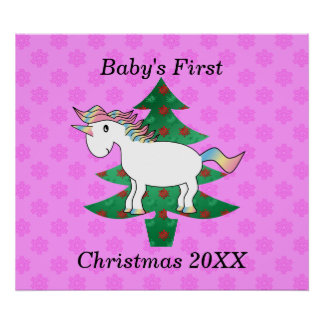 Baby s first christmas unicorn posters
