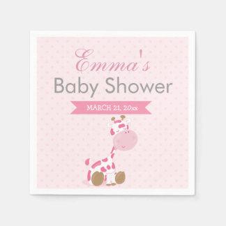 Baby Safari Pink Sleepy Giraffe Nursery Art Gift Disposable Serviettes