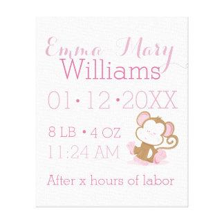 Baby Safari Pink Sleepy Monkey Nursery Art Gift Gallery Wrap Canvas