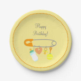 Baby safety pin first birthday party paper plate
