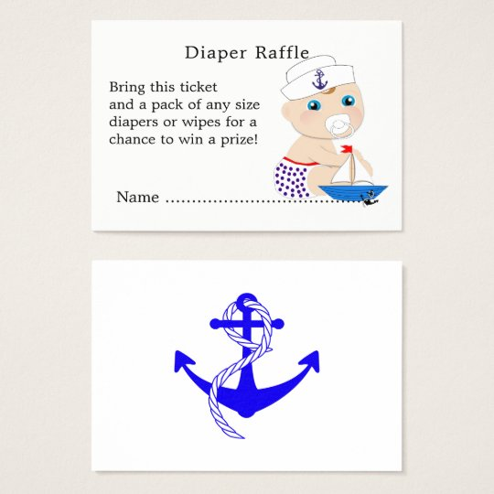 Baby Sailor Nautical Baby Shower Diaper Raffle Business Card