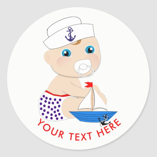 Baby Sailor Nautical Baby Shower Personalised Classic Round Sticker