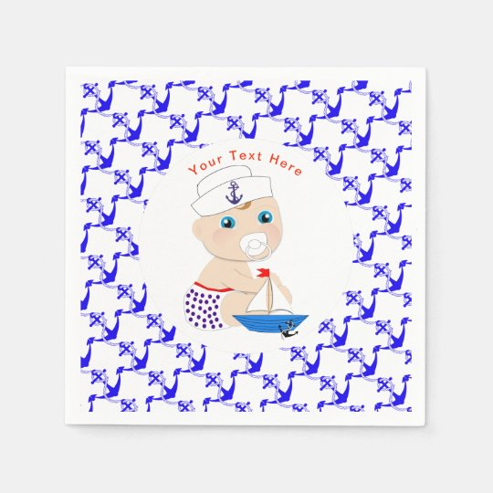 Baby Sailor Nautical Baby Shower Personalised Disposable Napkins