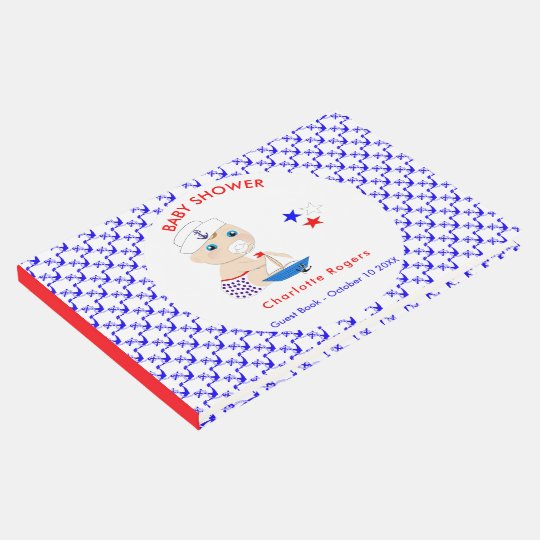 Baby Sailor Nautical Baby Shower Personalised Guest Book