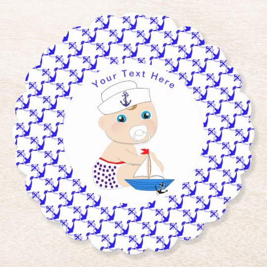 Baby Sailor Nautical Baby Shower Personalised Paper Coaster