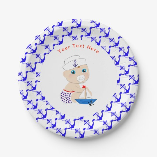 Baby Sailor Nautical Baby Shower Personalised Paper Plate