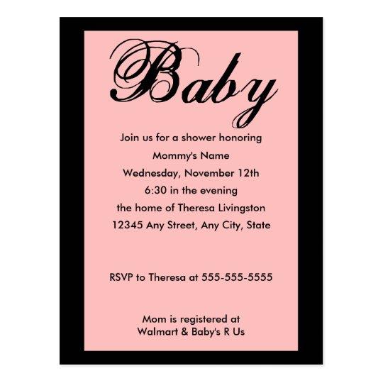 Baby Script Baby Shower Invitation Pink Postcard