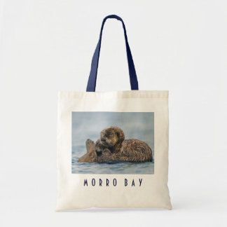 Baby Sea Otter Riding on Mother Canvas Bag
