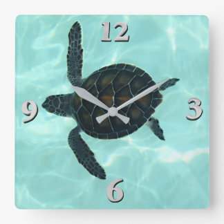 Baby Sea Turtle Square Wall Clock