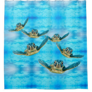 Sea turtle shower curtains zazzle baby sea turtles swimming shower curtain publicscrutiny Image collections