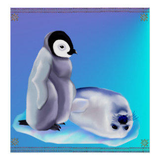 Baby Seal and Baby Penquin Poster