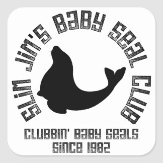 Baby Seal Clubber Square Stickers