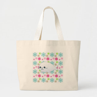 Baby Seal & Color Snowflakes Jumbo Tote Bag