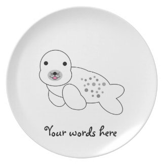Baby seal with spots dinner plate