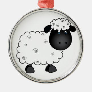 Baby Sheep For Ewe Silver-Colored Round Decoration