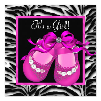 Baby Shoes Hot Pink Zebra Baby Girl Shower 13 Cm X 13 Cm Square Invitation Card