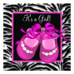 Baby Shoes Hot Pink Zebra Baby Girl Shower Personalised Invites