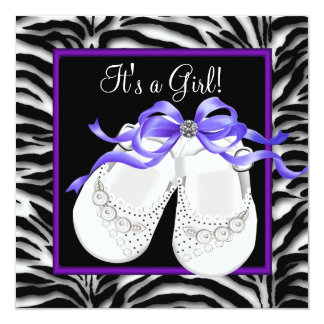 Baby Shoes Purple Zebra Baby Girl Shower 13 Cm X 13 Cm Square Invitation Card