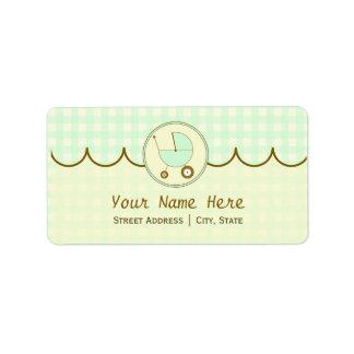 Baby Shower Address Label- Green Gingham & Brown Address Label