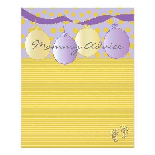 "Baby Shower Advice Card ""Gold Feet Balloons"""