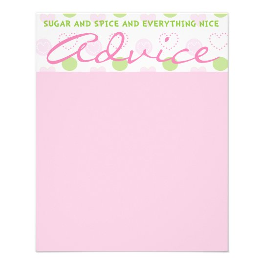 """Baby Shower Advice Card """"Sugar and Spice"""""""