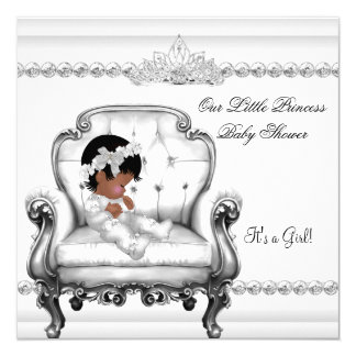 """Baby Shower African American Princess Girl Chair 5.25"""" Square Invitation Card"""