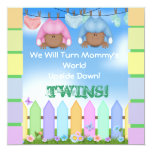 """BABY SHOWER AFRICAN AMERICAN TWIN BOY & GIRL 5.25"""" SQUARE INVITATION CARD"""