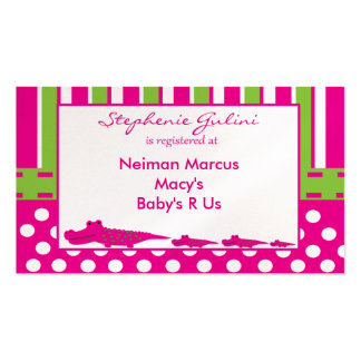 Baby Shower Alligator Registration Card Double-Sided Standard Business Cards (Pack Of 100)