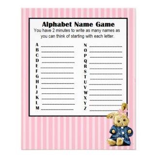 Baby Shower Alphabet Name BINGO Game Bunny Flyer