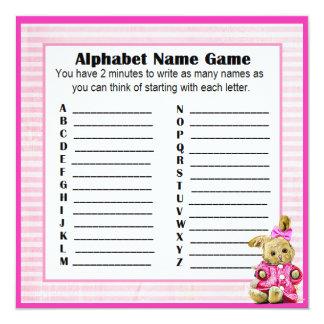 Baby Shower Alphabet Name & Bingo Game Pink Bunny Card