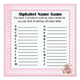 Baby Shower Alphabet Name & Bingo Game Pink Lamb Card