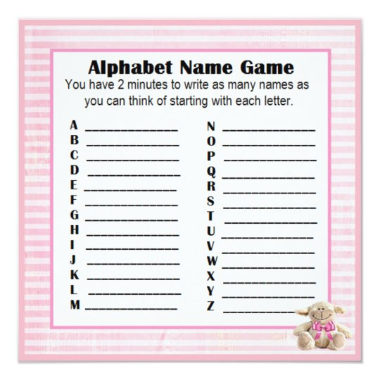 Baby Shower Alphabet Name & Bingo Game Pink