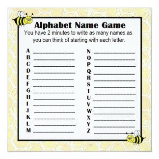 Baby Shower Alphabet Name Game BINGO Bumblebee Card