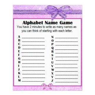 Baby Shower Alphabet Name Game Purple Lavender Flyer