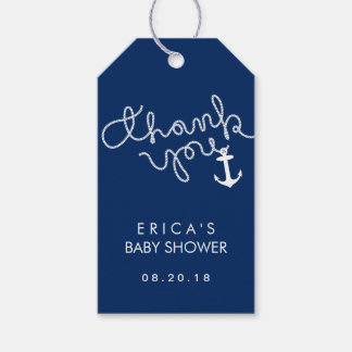 Baby Shower Anchor & Rope Navy Blue Thank You Gift Tags