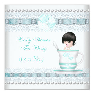 Baby Shower Baby Blue Teacup Tea Party Card