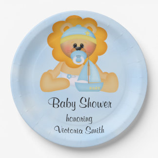 Baby Shower Baby Boy Lion Paper Plate